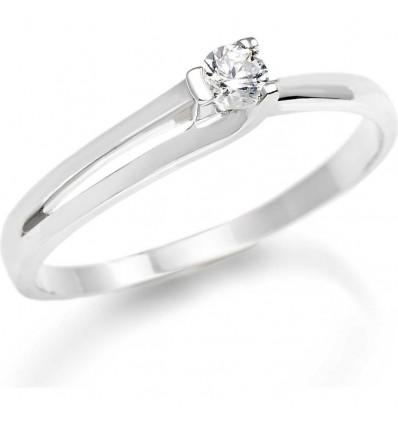 Anello Donna Solitario Oro Bianco Diamante Taglio Brillante