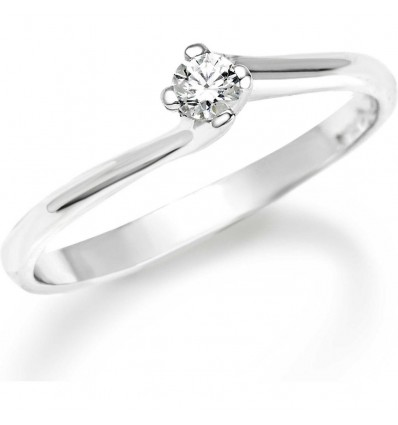 Anello Donna Solitario Oro Bianco Diamante