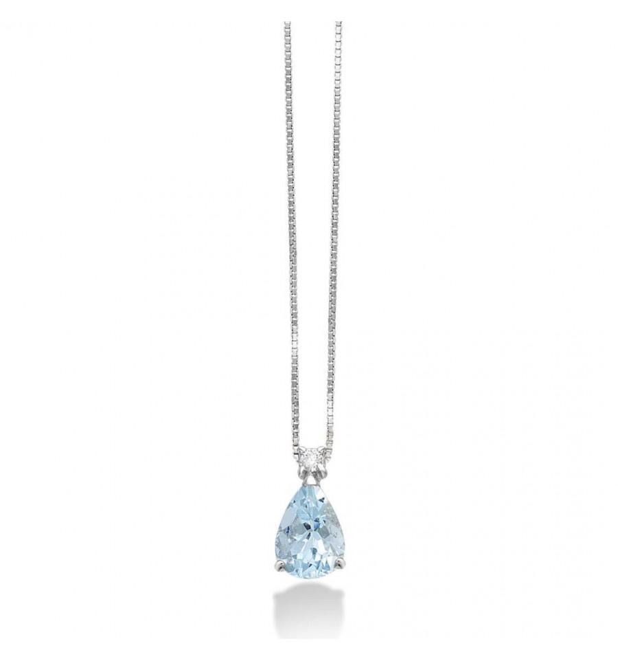 rivenditore all'ingrosso 7dc4e 8b9d9 Collana Donna In Oro Bianco Con Acqua Marina E Diamante