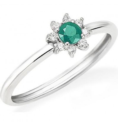 Anello Donna Oro Bianco Smeraldo e Diamanti