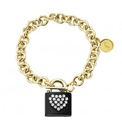 Bracciale Donna In Metallo Lock Gold Nero