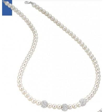 Collana Perle E Oro Bianco