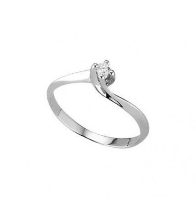 Anello Solitario In Oro Bianco E Diamante PG