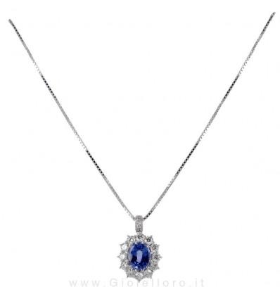 Collana In Oro Bianco Diamanti e Zaffiro