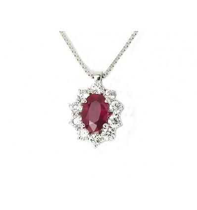 Collana In Oro Bianco Con Diamanti e Rubino