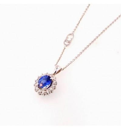 Collana In Oro Bianco Con Diamanti E Zaffiro Chimento