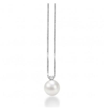 Collana Donna In Oro Bianco E Perle