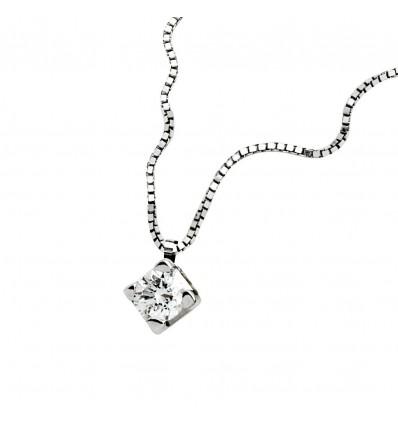 Collana Donna In Oro Bianco E Diamante