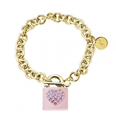 Bracciale Donna In Metallo Lock Gold Rosa